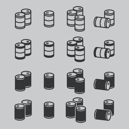 barel: Oil barrel icon set. Vector. Illustration