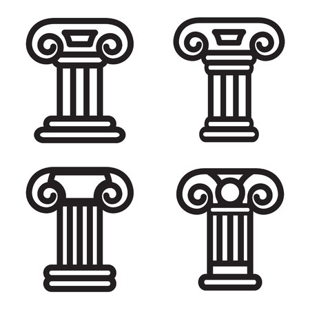 column icon: Column icon in four variations. Vector eps 10.