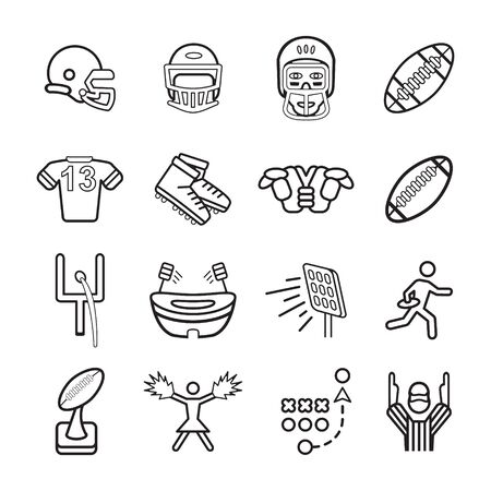 snickers: American football icons set.