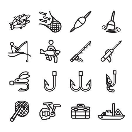 floater: Fishing icons set.