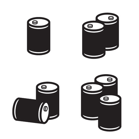 barel: Oil barrel icon in four variations. Vector.