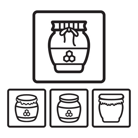 golden pot: Honey jar icon in four variations. Vector eps 10.