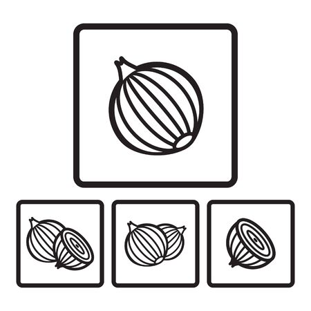ikon: Onion icon in four variations. Vector illustration eps 10. Illustration