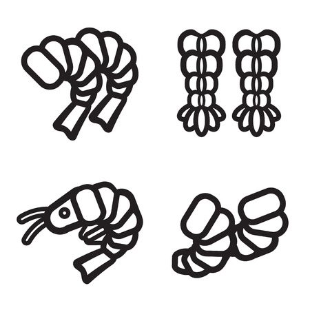 appetizers: Shrimp icon in four variations. Vector eps 10. Illustration