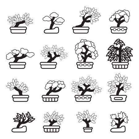 bonsai: Bonsai tree icon set. Vector eps 10.