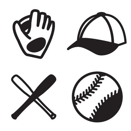 inning: Baseball icon set. Vector eps 10. Illustration