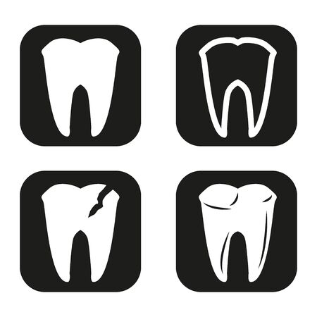 toothcare: Tooth icon in four variations Illustration