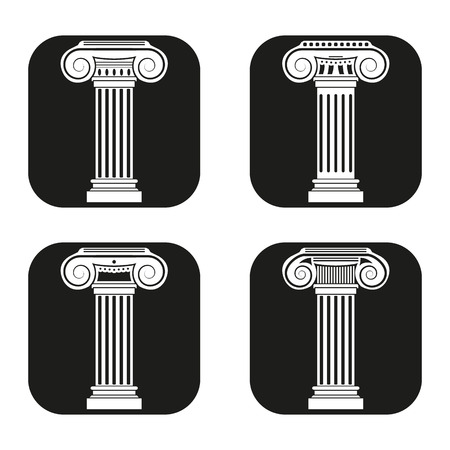 base: Column icon in four variations. Vector eps 10.