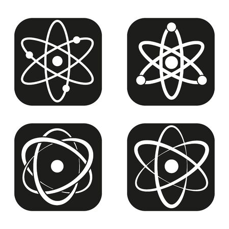 education icon: Atom icon in four variations
