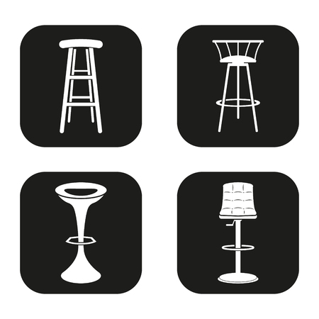 french fancy: Set of four bar stool icons