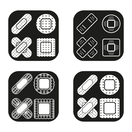 botiquin primeros auxilios: Bandage icon in four variations. Vector.