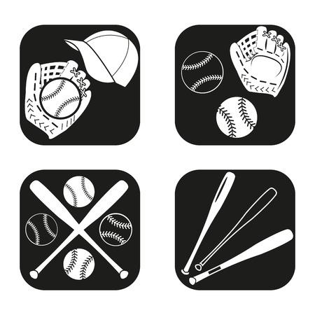 inning: Baseball icon in four variations Illustration