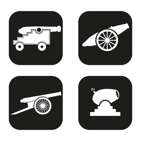 a cannon: Cannon icon in four variations