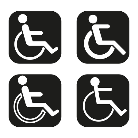 crippled: Disabled icon in four variations Illustration