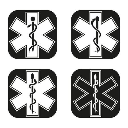 aesculapius: Medical emergency symbol in four variations