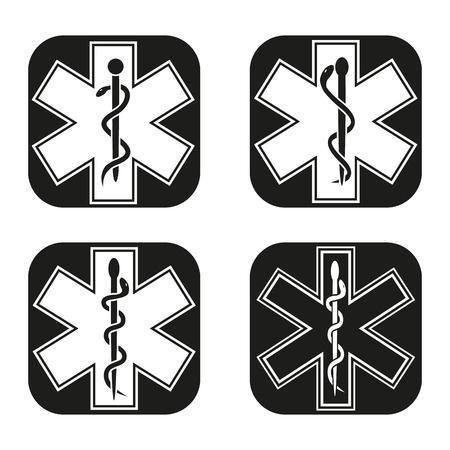 estrella de la vida: símbolo de emergencia médica en cuatro variaciones