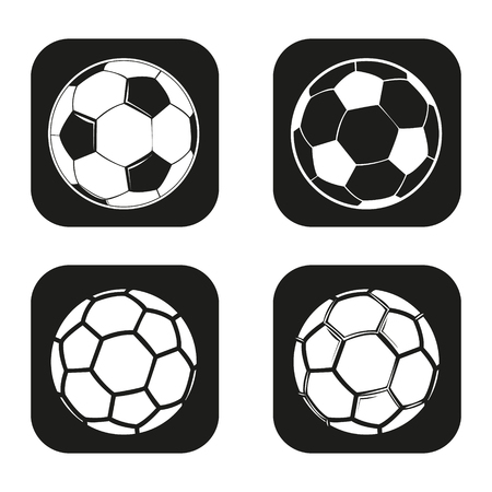 footie: Soccer or football ball icon in four variations Illustration