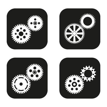 Gears pictogram in vier variaties