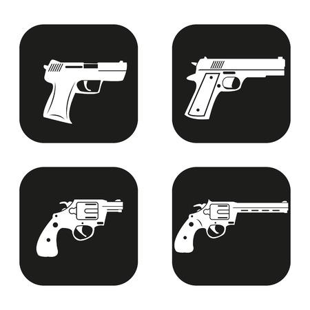 black powder pistol: Gun icon in four variations Illustration