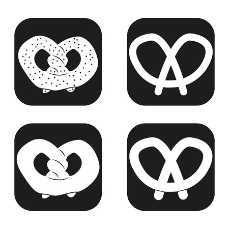 yeast: Pretzel icon in four variations