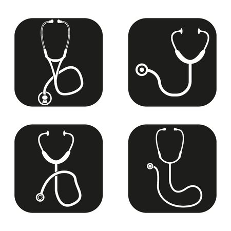 check icon: Stethoscope icon in four variations Illustration
