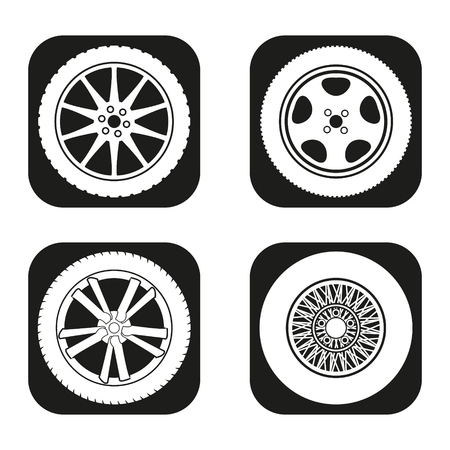 tire cover: Car wheel icon in four variations Illustration