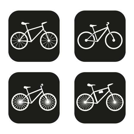 Bicycle icon in four variations Vettoriali