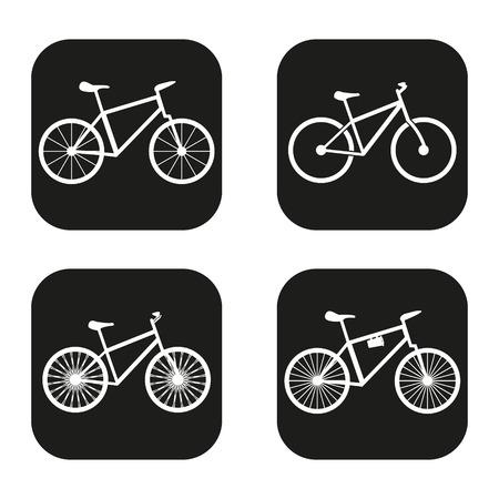 bicicleta: Icono de la bicicleta en cuatro variaciones Vectores