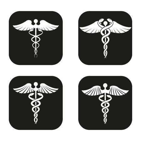 caduceus symbol: Caduceus symbol in four variations