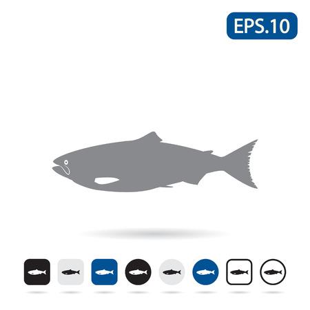 Salmon illustration icon. Vector illustration eps 10. Illustration