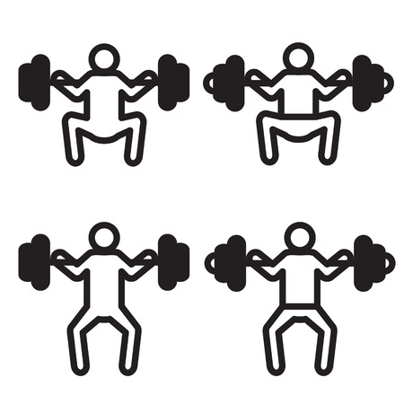 squat: Weightlifting squat icon in four variations.