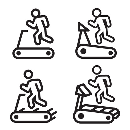 Treadmill icon in four variations. Illustration