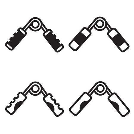 hand gripper: Grip trainer icon in four variations.