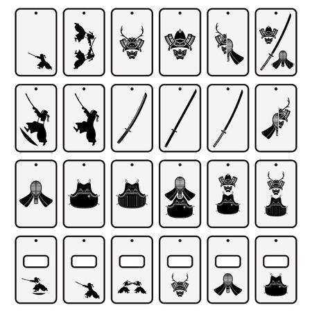 Japanese subway card holders with traditional motives set. Vector illustration. Ilustração