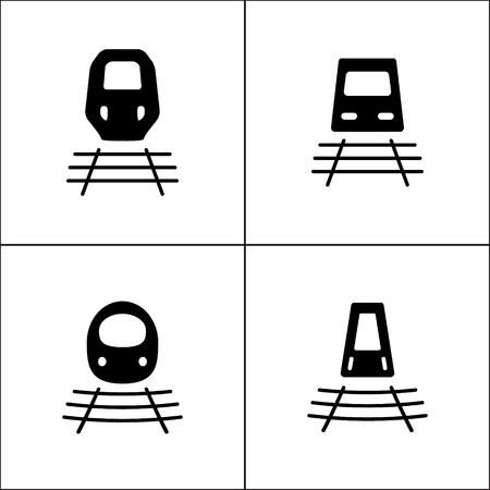 Bullet train or train icon in four variations