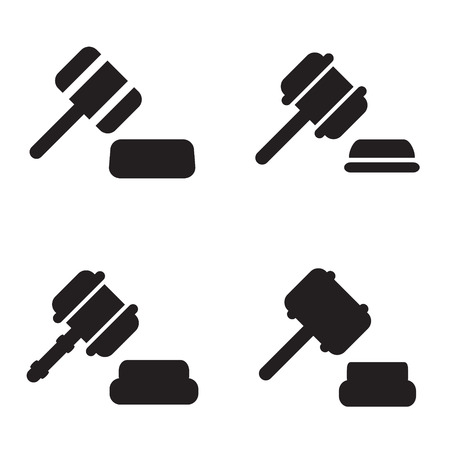 Gavel icon in four variations Ilustração