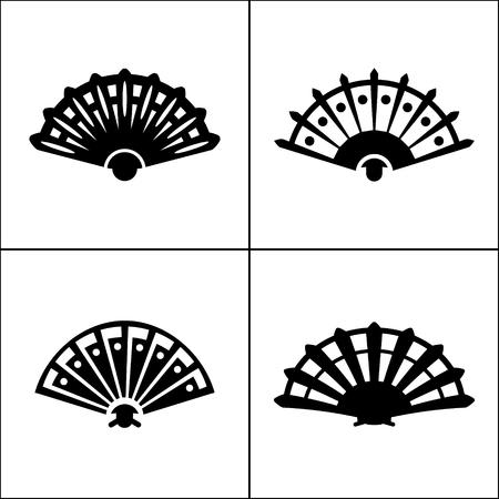 Hand fan Symbol in vier Varianten Standard-Bild - 63130745