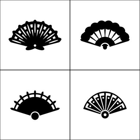 open fan: Hand fan icon in four variations Illustration