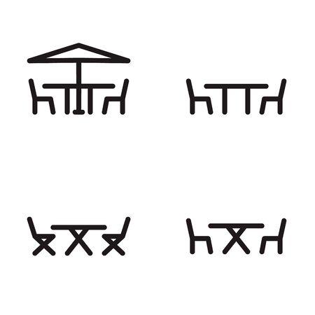 Gartenmöbel Symbol in vier Varianten Standard-Bild - 63130753