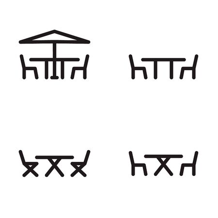 patio furniture: Patio furniture icon in four variations