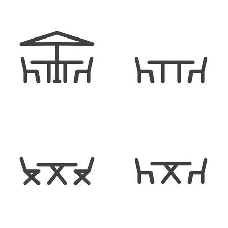 Gartenmöbel Symbol in vier Varianten Standard-Bild - 63130751