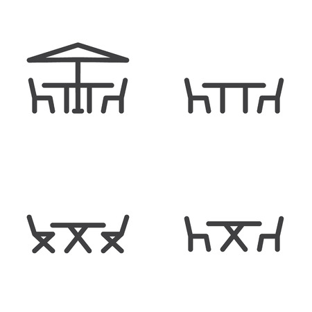 patio: Patio furniture icon in four variations