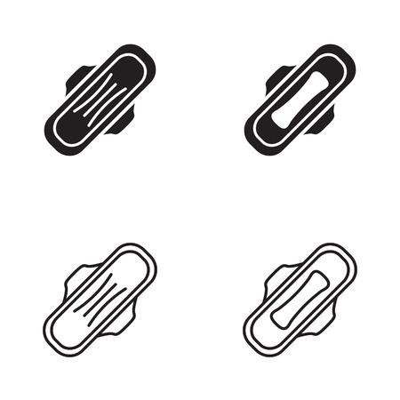 Sanitary napkin icon in four variations