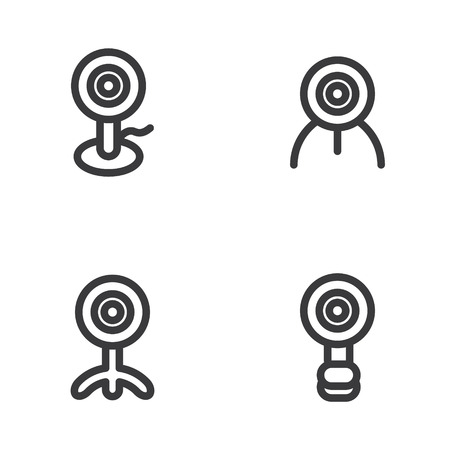 Webcam icon in four variations Ilustração