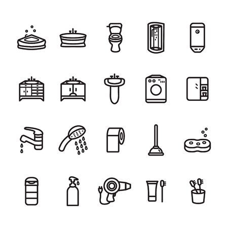 Bathroom thin line icon set