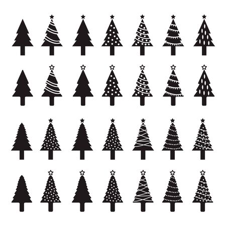 Christmas tree icon set Ilustração