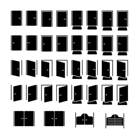 cerrar la puerta: Puertas conjunto de iconos Vectores