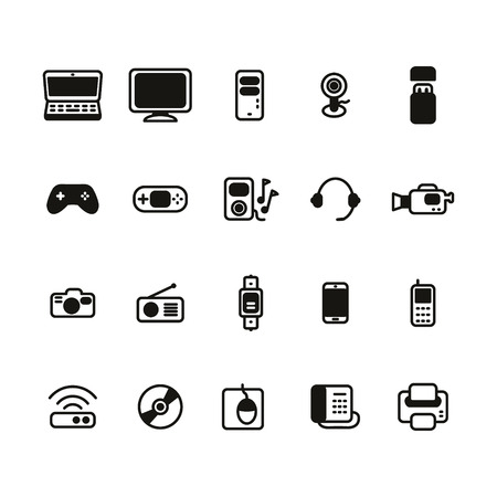 electronic devices: Electronic devices thin line icon set Illustration