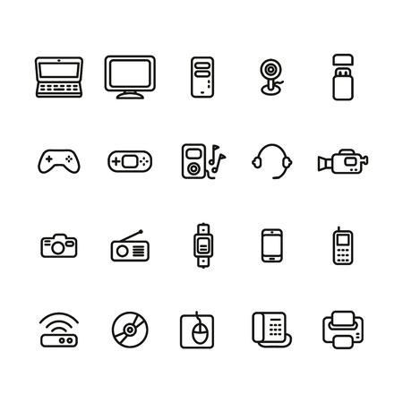 Los dispositivos electrónicos delgada línea conjunto de iconos Foto de archivo - 63130956
