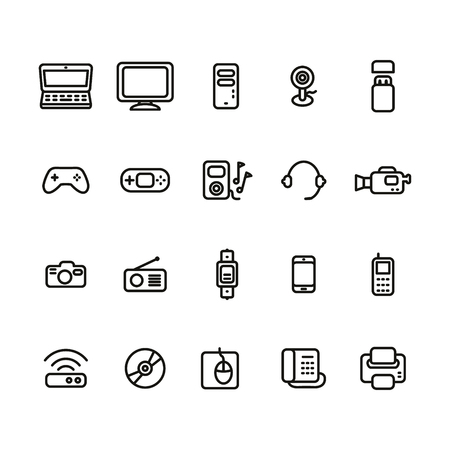 Electronic devices thin line icon set Illustration